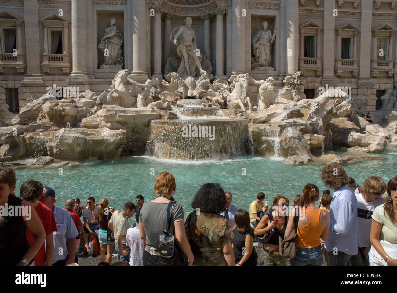 Crowds at the Trevi Fountain in Rome - Stock Image