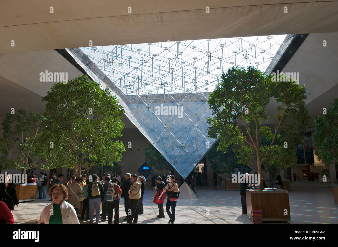 Inverted pyramid at the Carrousel du Louvre in Paris - Stock Image