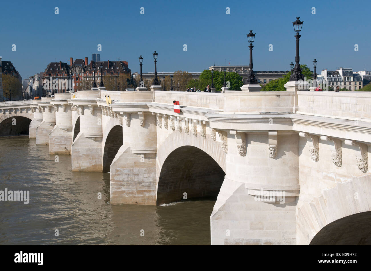 The Pont Neuf across the river Seine in Paris - Stock Image
