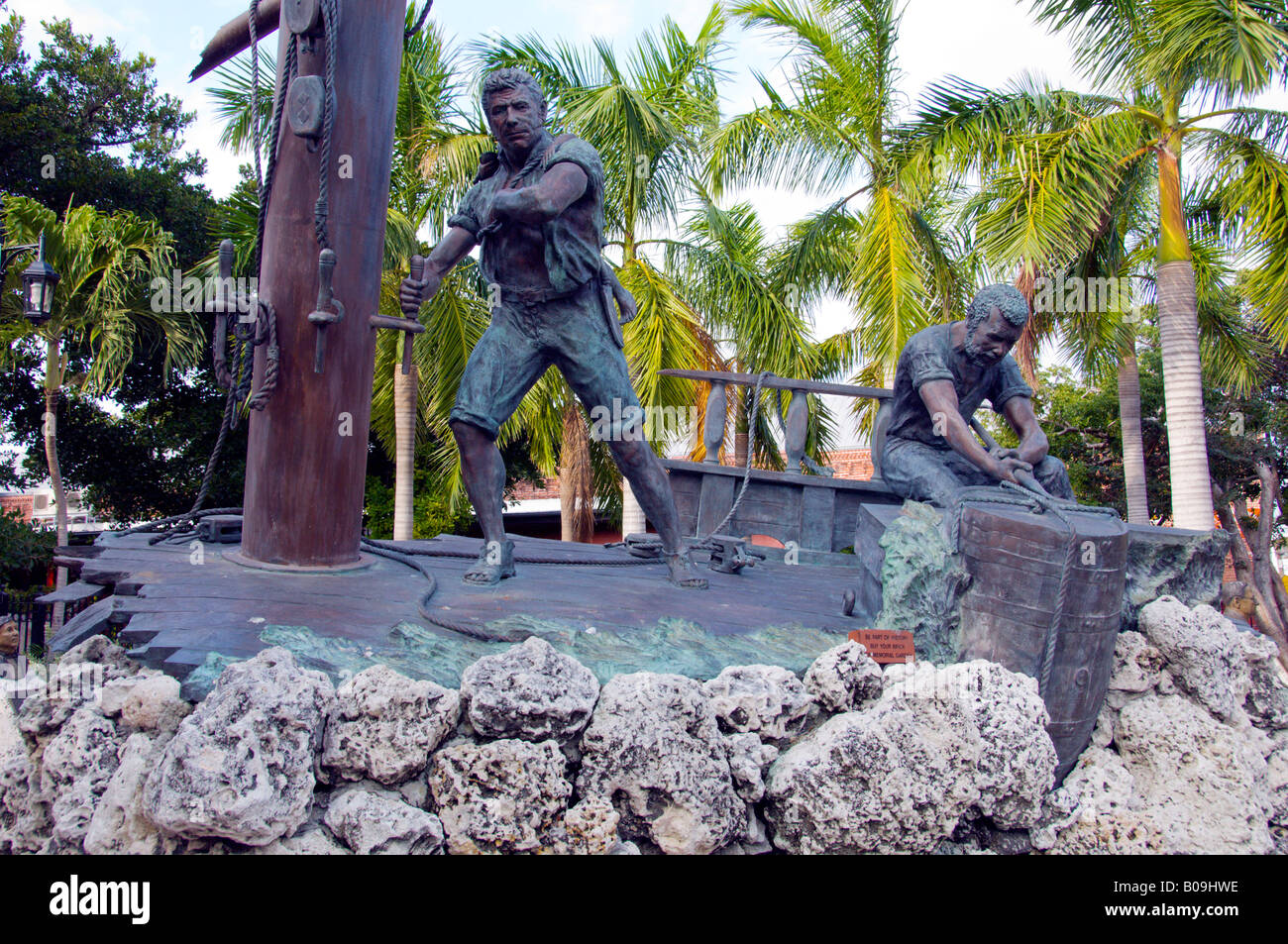 An historic seafaring monument in Mallory Square in Key West Florida USA - Stock Image