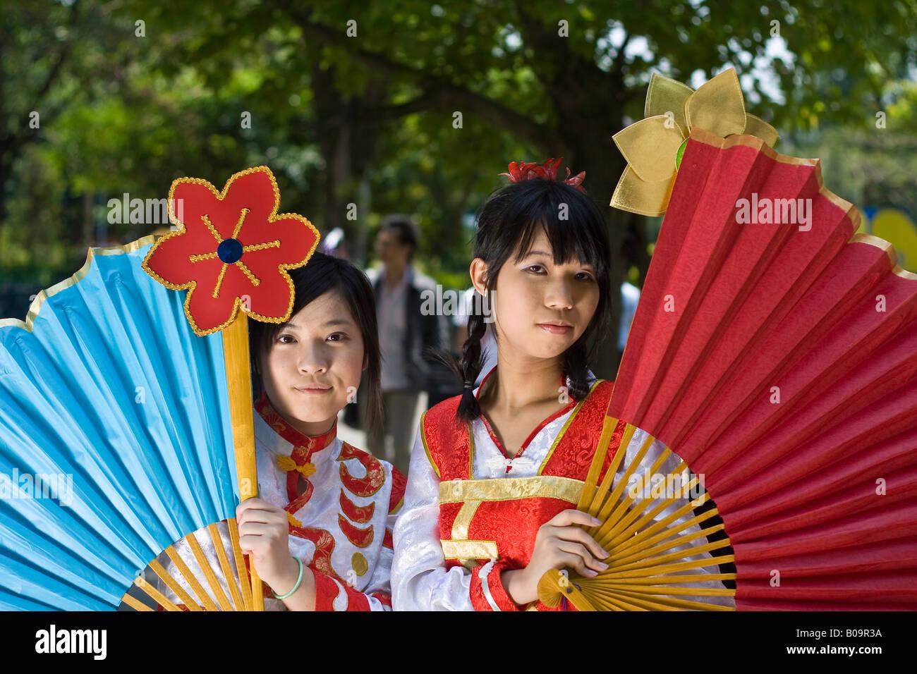 Petit Fancy 8 Cosplay (Costume Play) at National Taiwan University sports center, Taipei, Taiwan. Xiao Qiao (left) - Stock Image