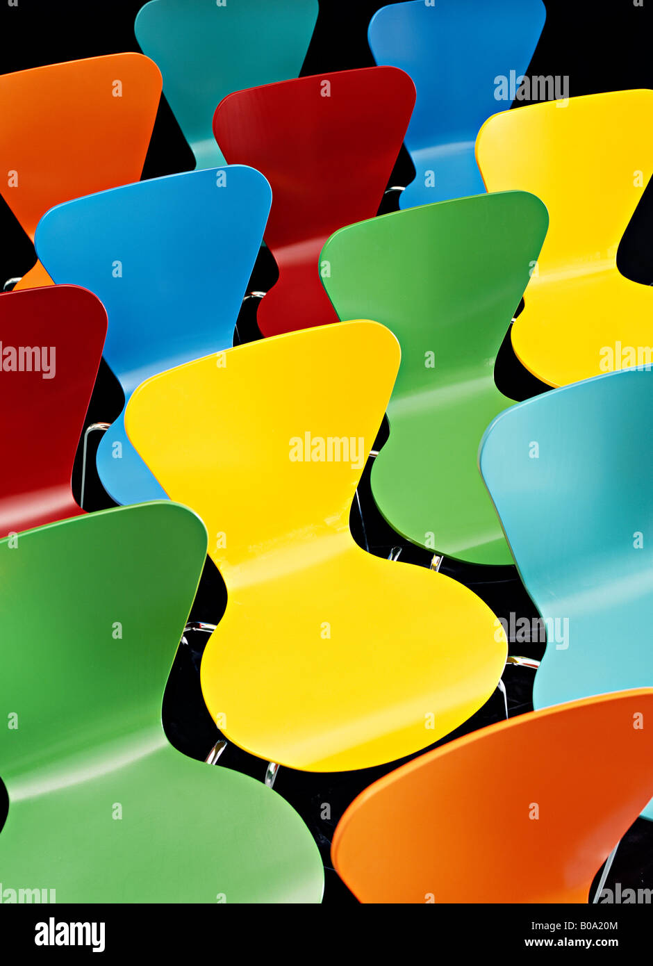 multi colored bent wood chairs - Stock Image