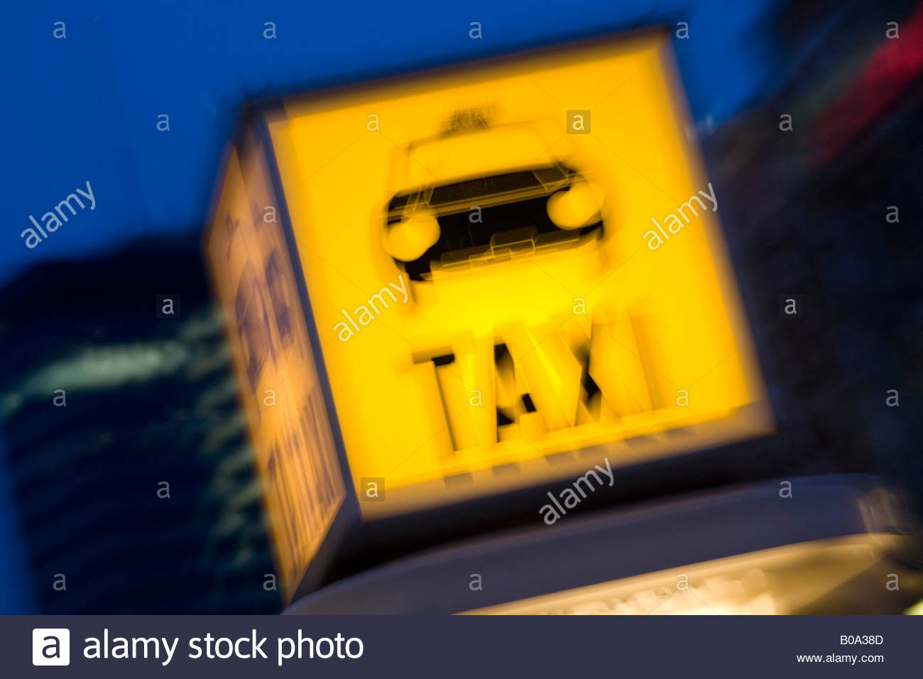 neon sign on taxi stand - Stock Image