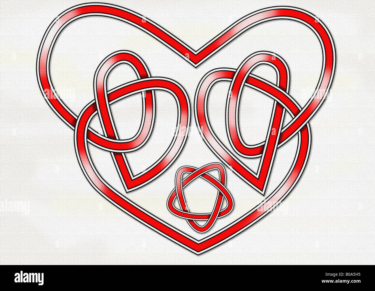 An original Celtic knot in the form of a heart and interlocking hearts - Stock Image