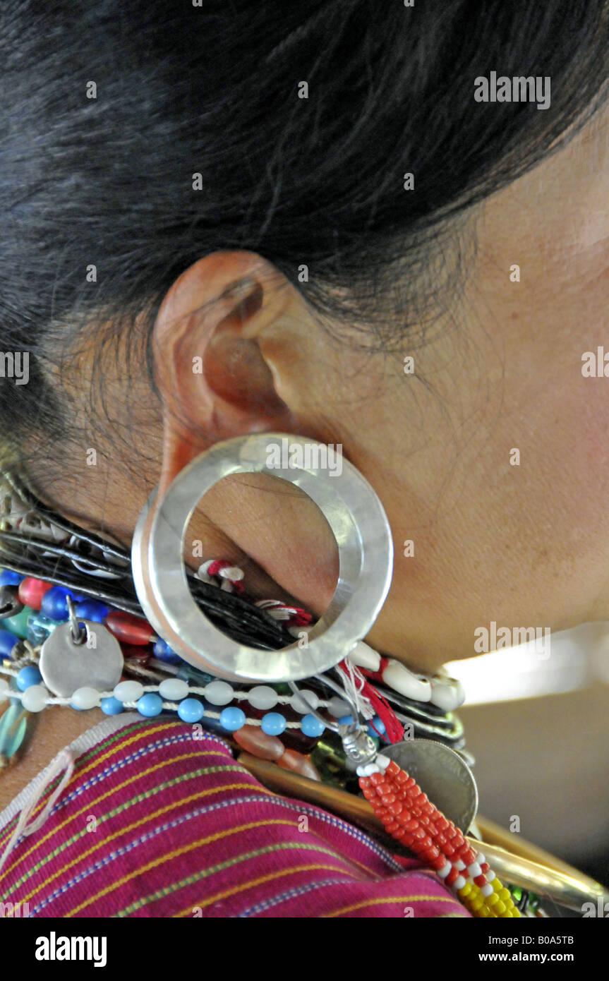 Metal Flesh Tunnel Of Padaung Woman Thailand Stock Photo 17434491