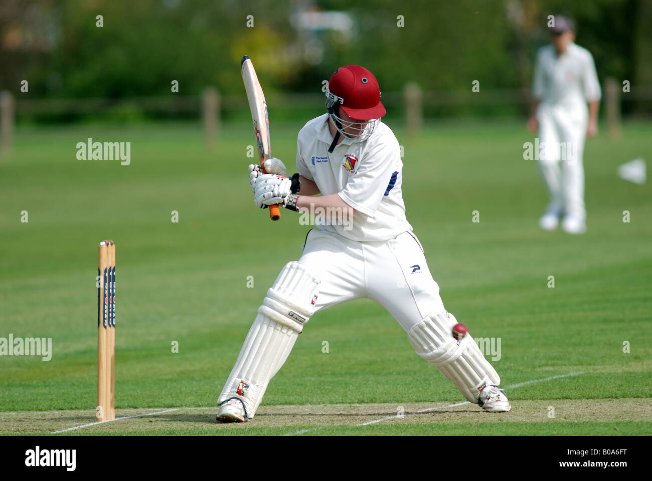 Batsman in village cricket match, UK Stock Photo