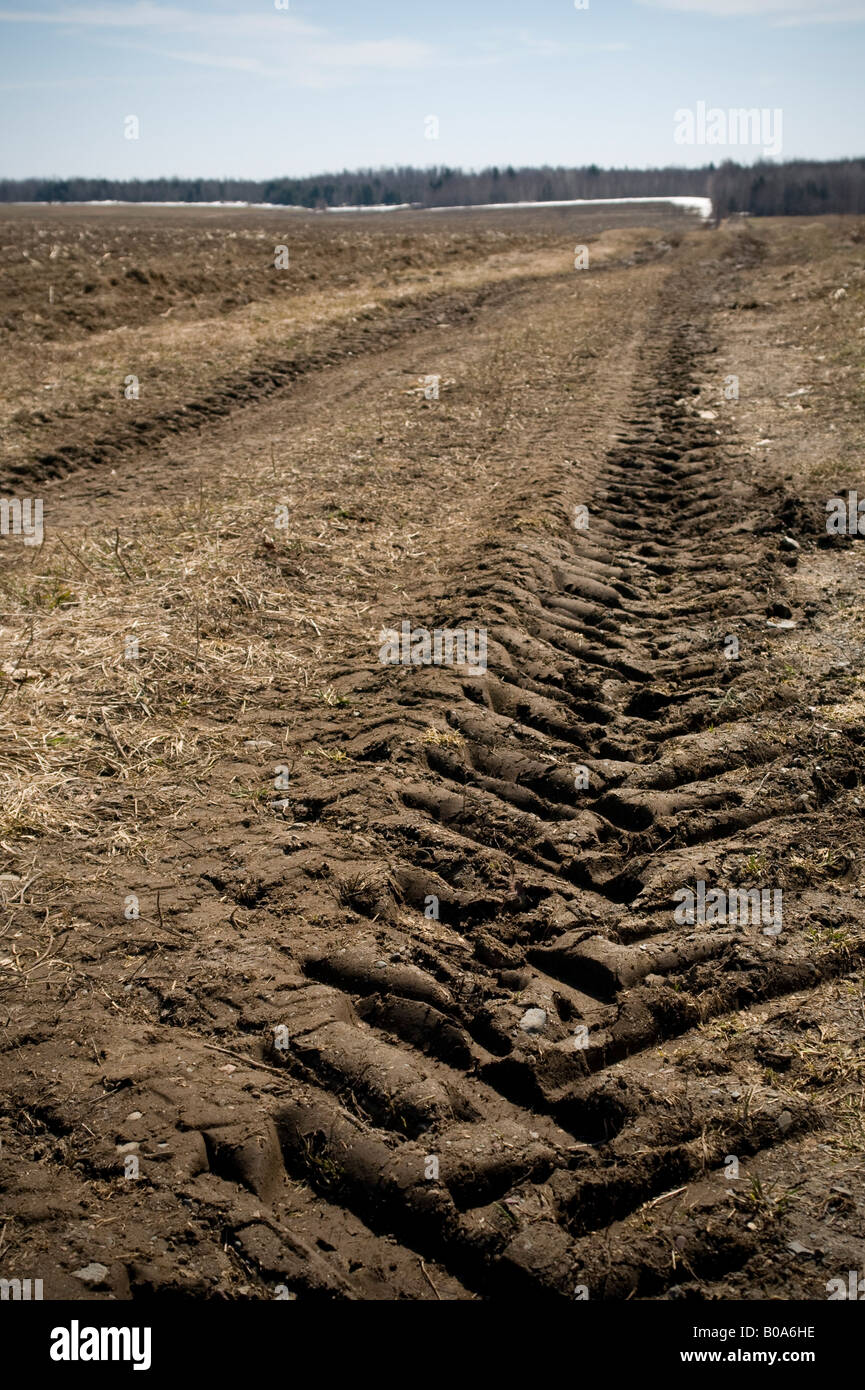 Farm road on April 16 2008 in St. Christine, Quebec, Canada. - Stock Image
