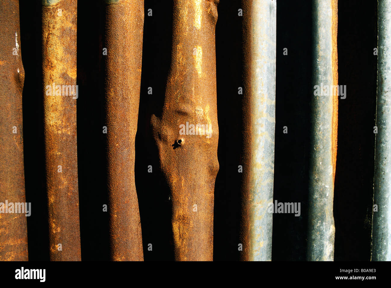 Metal bars with rust, close-up - Stock Image
