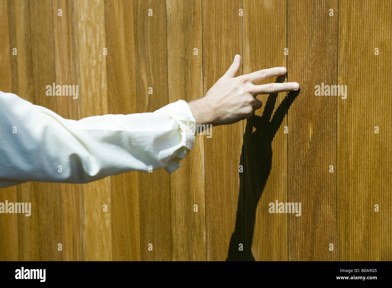 Man touching wood paneling with fingers, cropped view - Stock Image