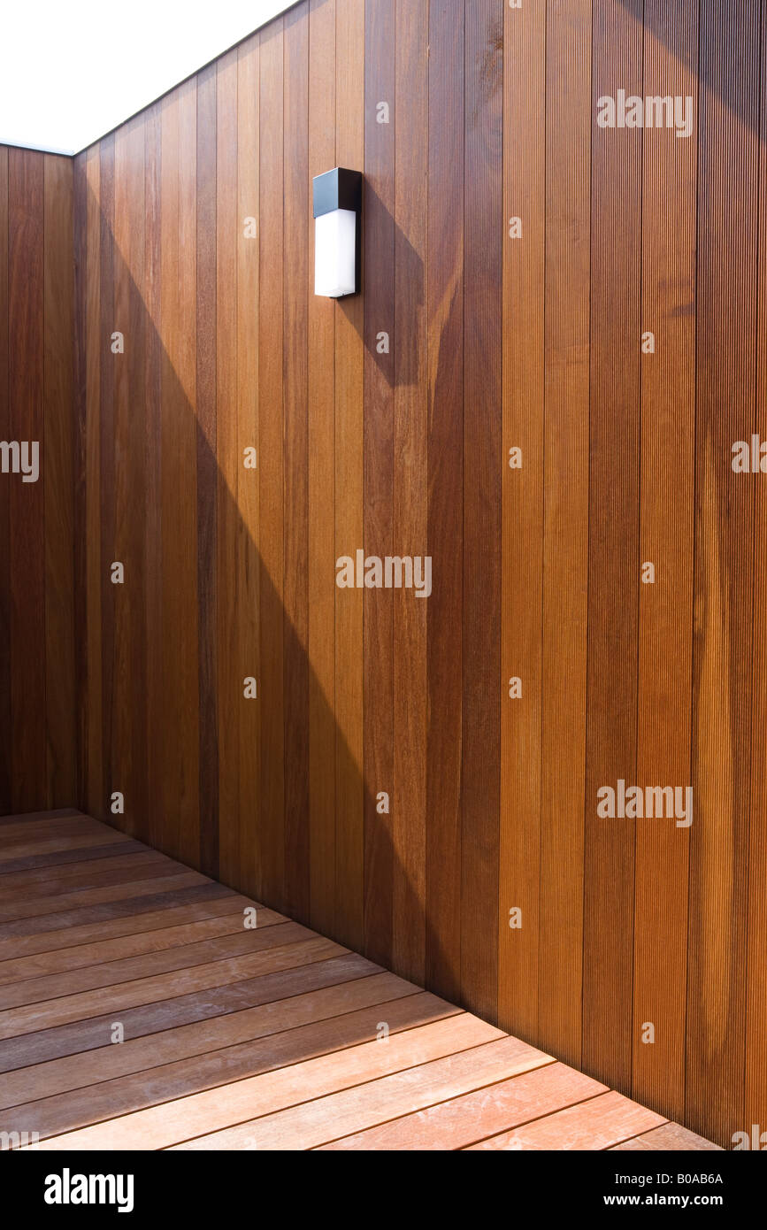 Wood paneled patio, cropped view - Stock Image