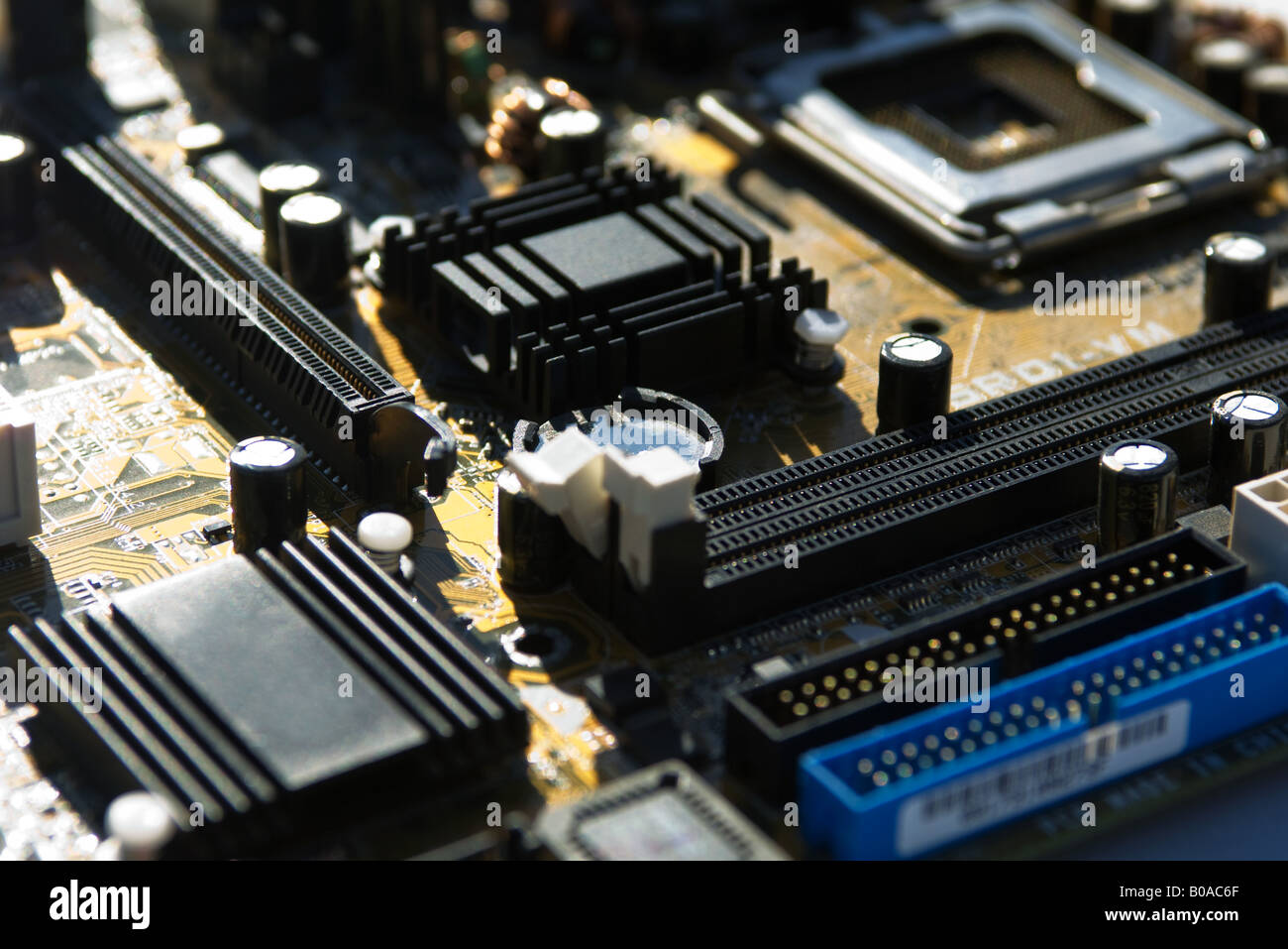 Computer motherboard, extreme close-up - Stock Image
