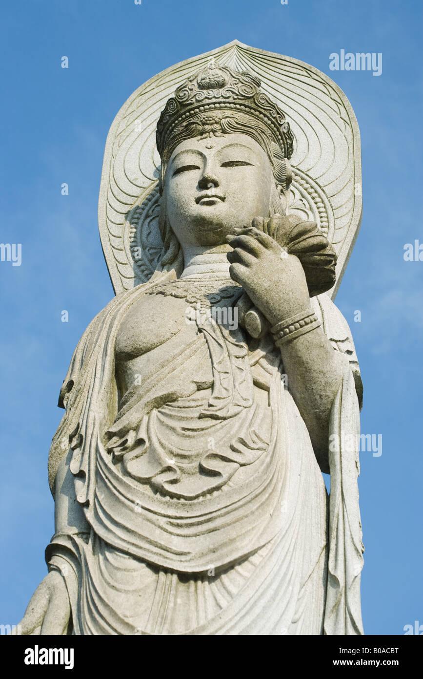 Buddha statue, low angle view - Stock Image