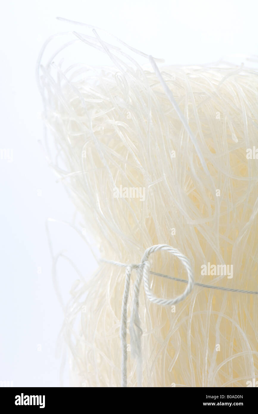 Cellophane noodles tied with string, close-up - Stock Image
