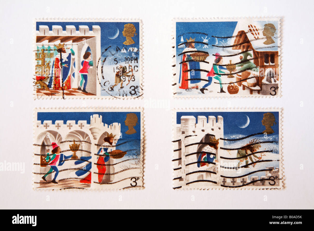 four British Christmas postage stamps from the 1970s depicting Good King Wenceslas - Stock Image