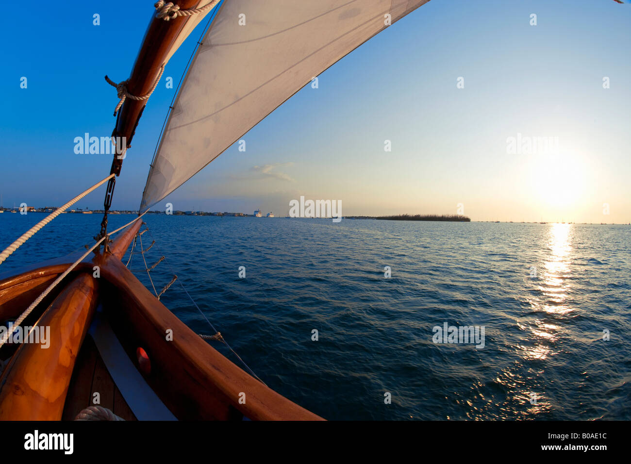 View of sunset from sailboat in Key West, Florida - Stock Image