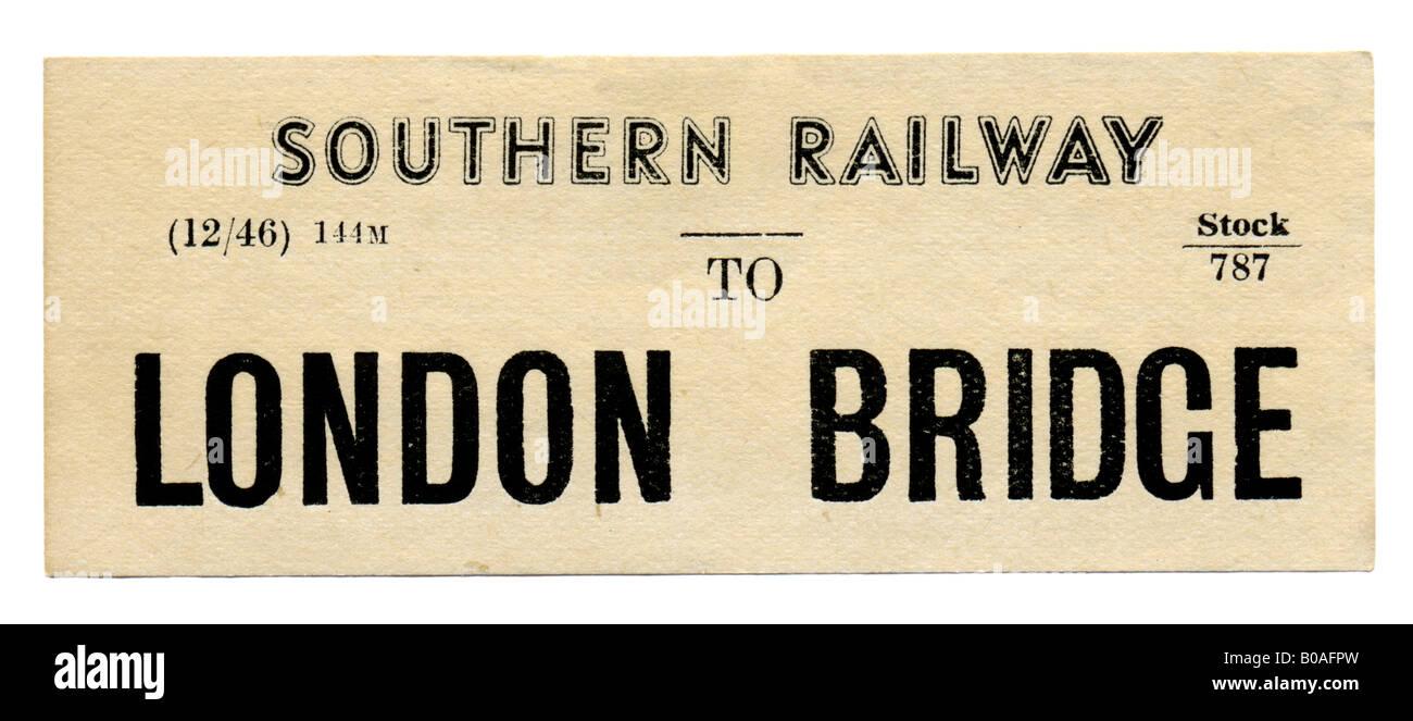London Bridge Southern Railway Station luggage label December 1946 - Stock Image