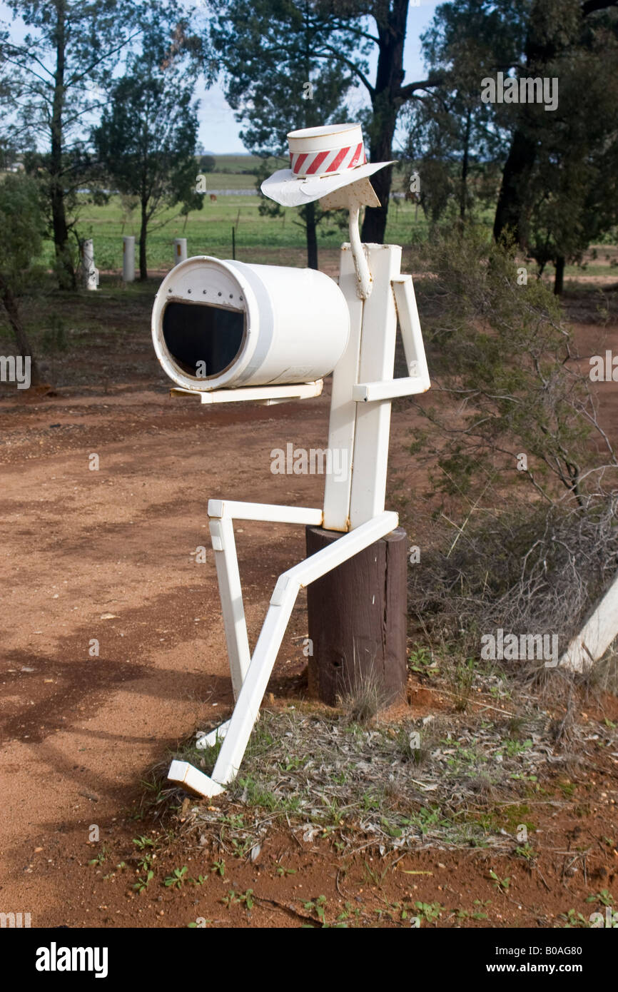 A mailbox at the entrance to a farm in rural Australia Stock Photo