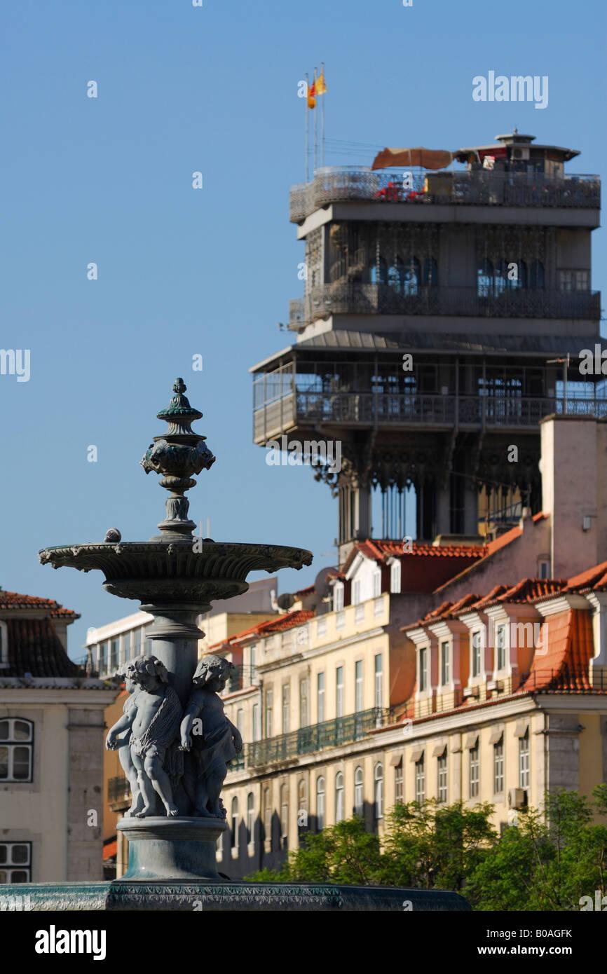 Lisbon Portugal Praça Dom Pedro IV Rossio looking towards Elevador de Santa Justa - Stock Image