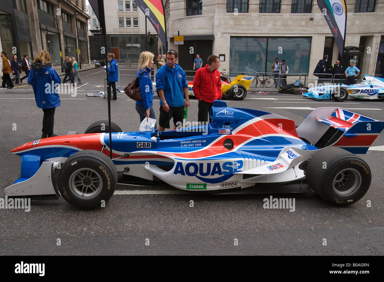 A1 GP Racing car of the British team on a makeshift grid in St James in London 2008 - Stock Image