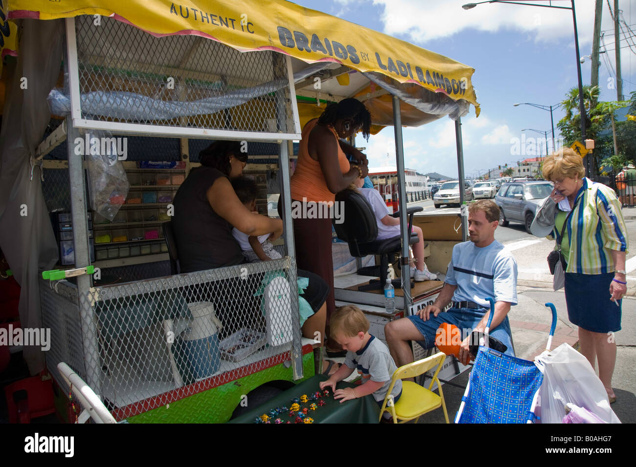 Flee market in St Thomas in the Caribbean Sea Stock Photo