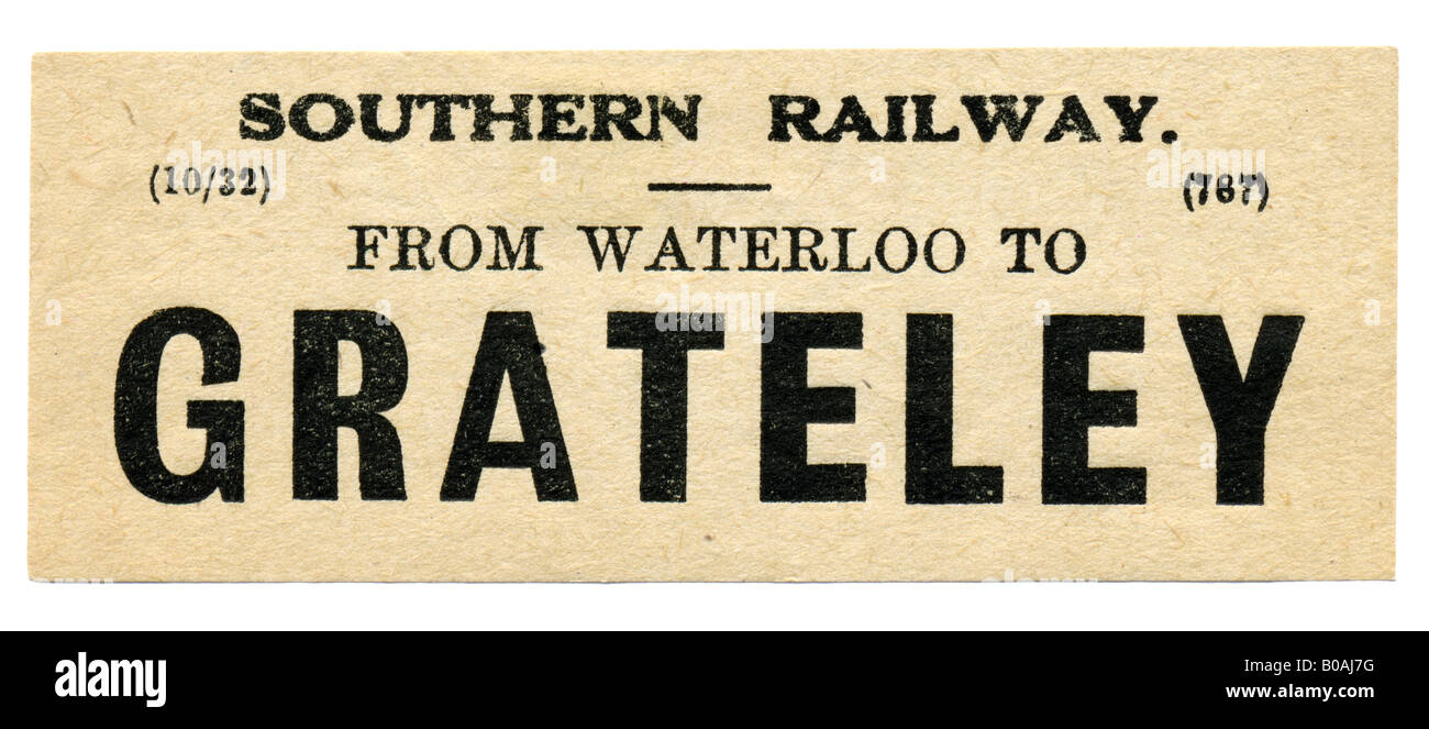 Grateley Hampshire Southern Railway Station luggage label October 1932 - Stock Image