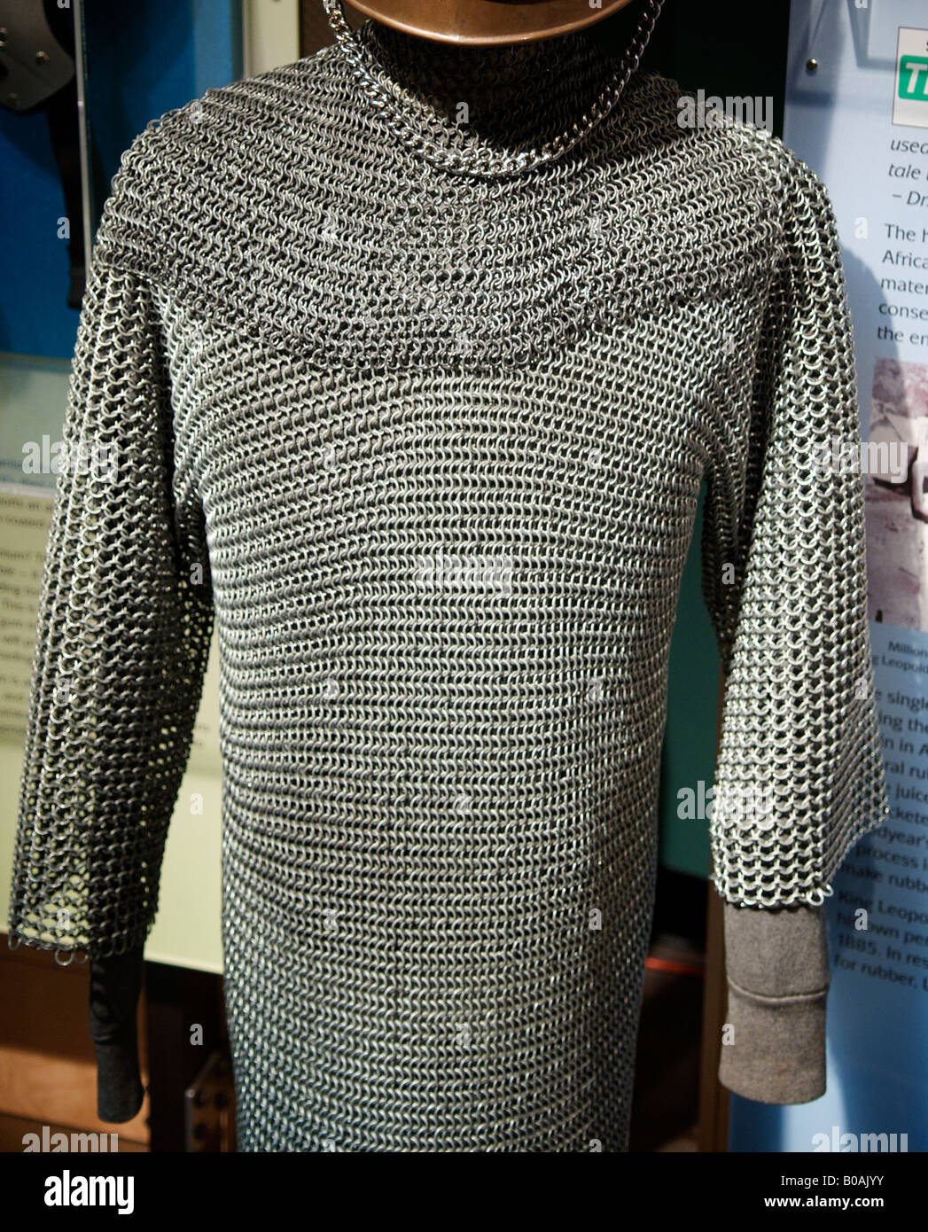 Metal Medieval chain mail shirt hauberk on display at the Pacific Science Center in Seattle, Washington, United - Stock Image