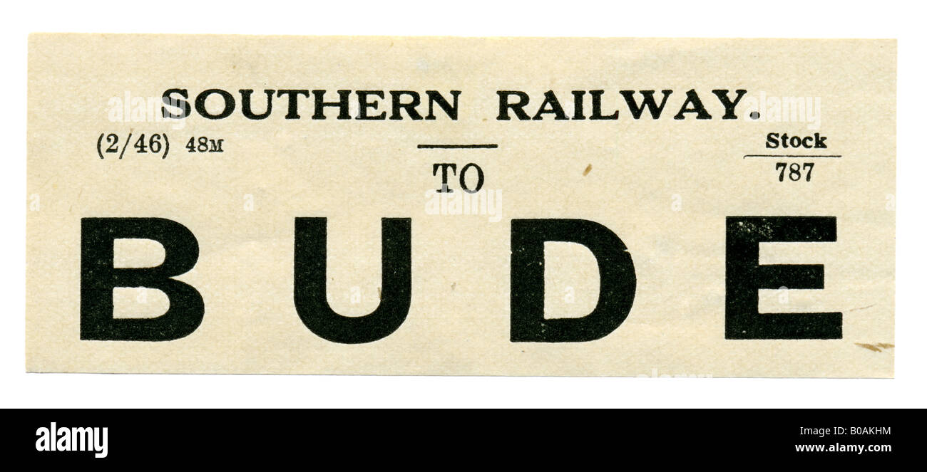 Bude Cornwall Southern Railway Station luggage label February 1946 - Stock Image