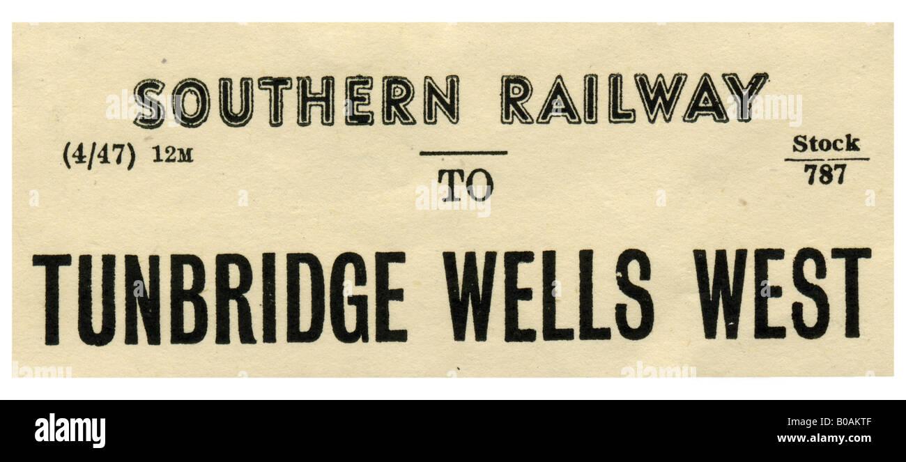 Tunbridge Wells West Kent Southern Railway Station luggage label April 1947 - Stock Image