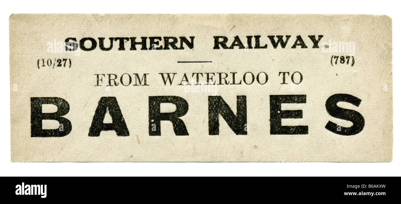 Barnes Greater London Southern Railway Station luggage label October 1927 - Stock Image