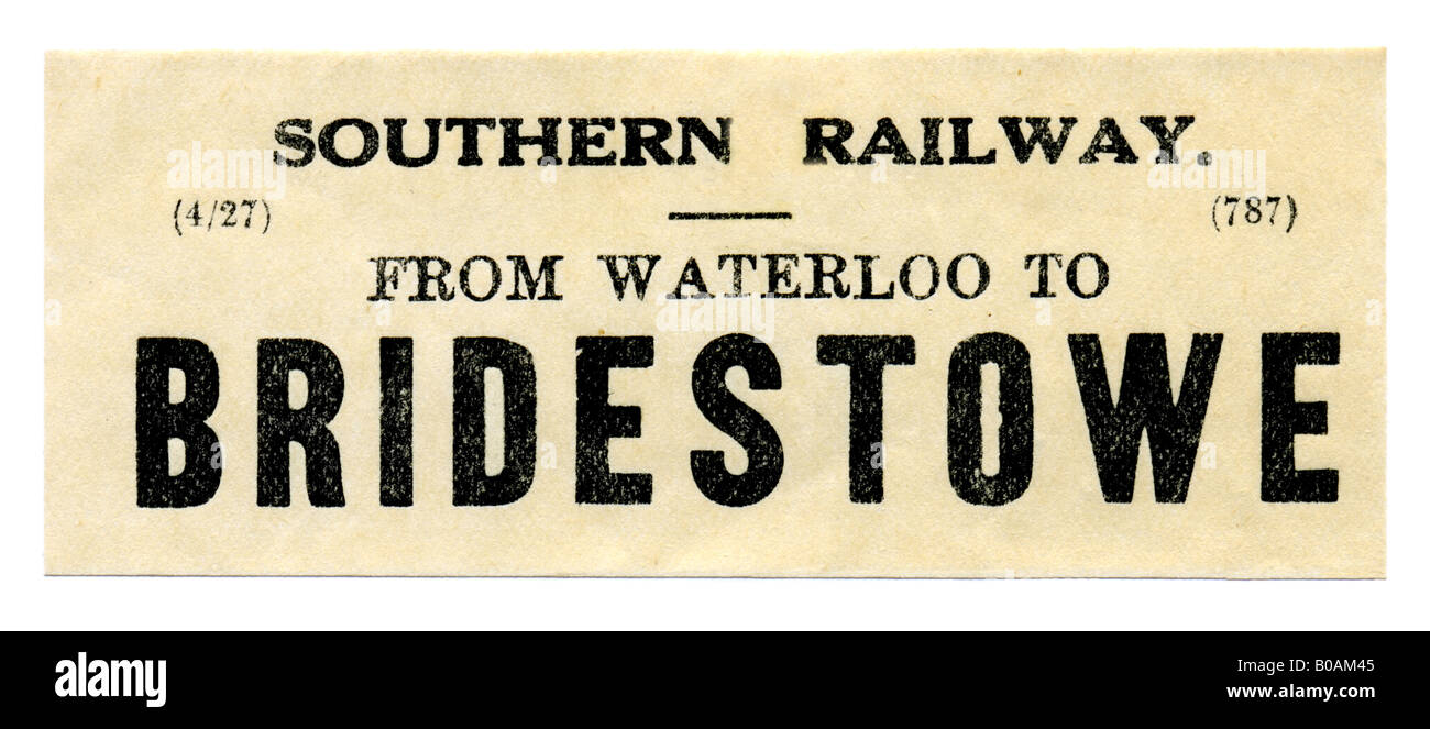 Bridestowe Devon Southern Railway Station luggage label April 1927 - Stock Image