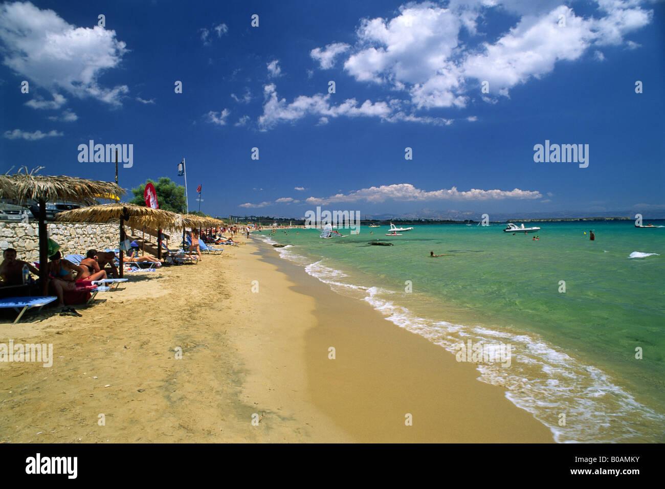 Greece Cyclades Islands Paros Golden Beach Stock Photo