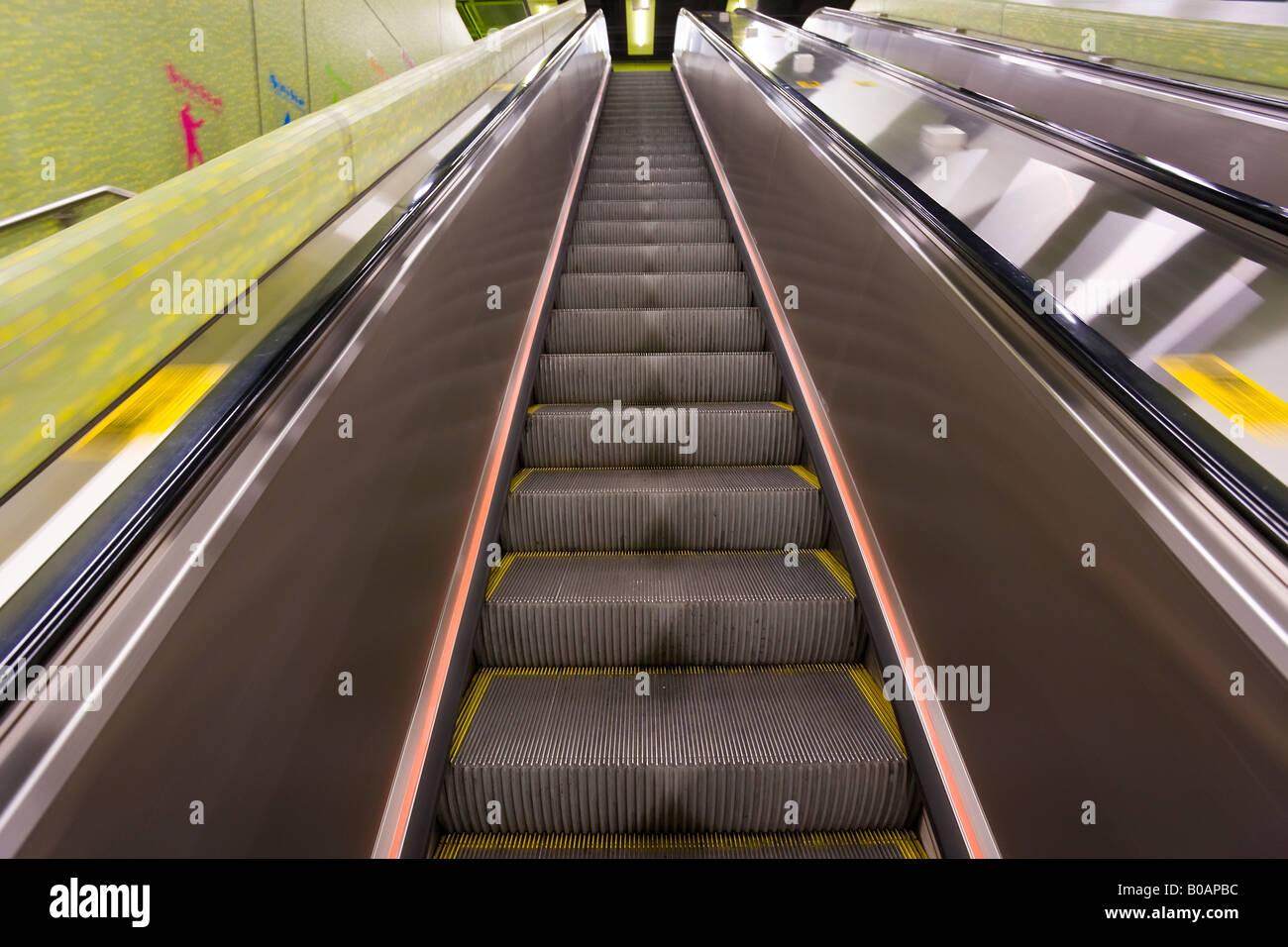 Asia, China, Hong Kong, MTR escalator, underground subway metro station - Stock Image