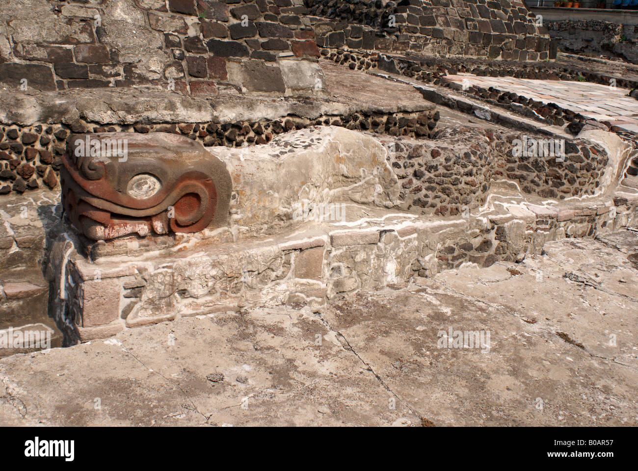 Writhing serpent sculpture at the foot of the Templo Mayor or Great Temple of Tenochtitlan, Mexico City Stock Photo