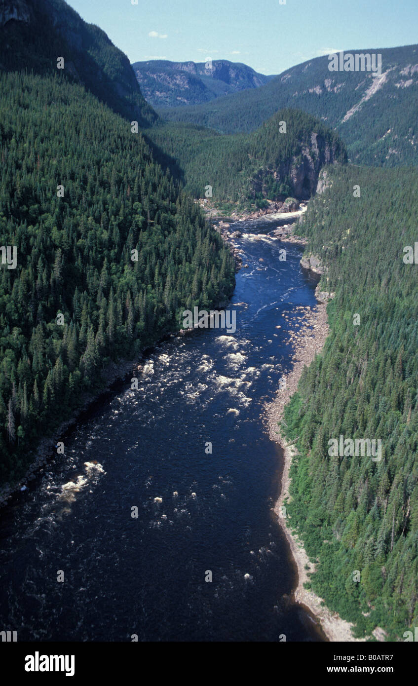 aerial view ,aerien,aerial,vue aerienne ,of the moisie river quebec canada - Stock Image