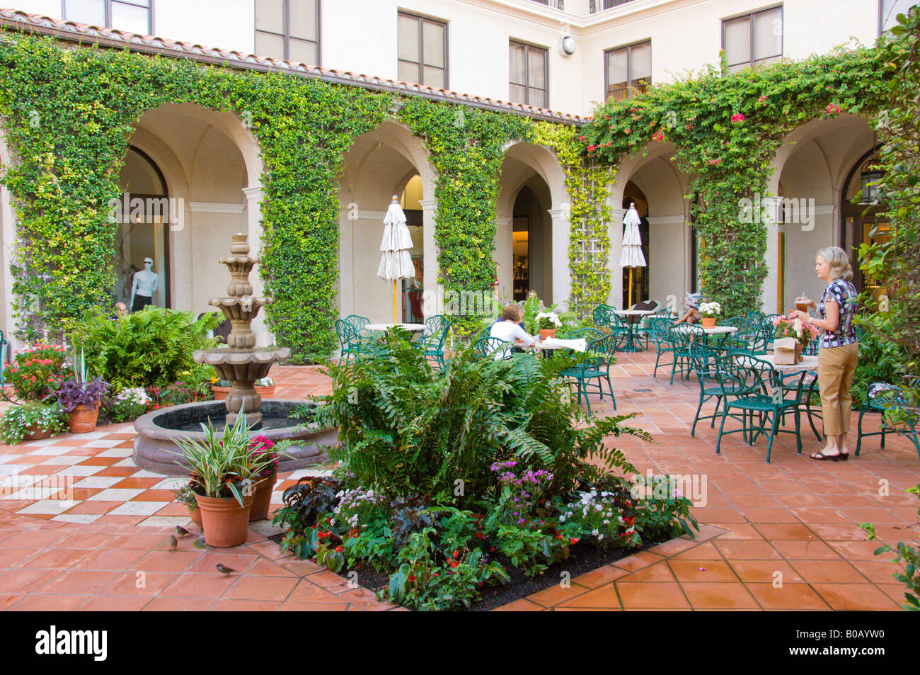 Interior courtyard and shops at The Breakers hotel in West Palm ...