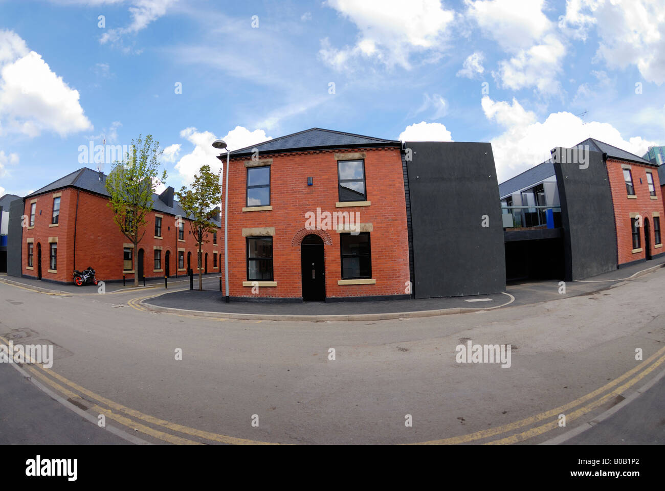 Terraced houses being refurbished in the Langworthy area of Salford in Greater Manchester. Chimney Pot Park estate. - Stock Image