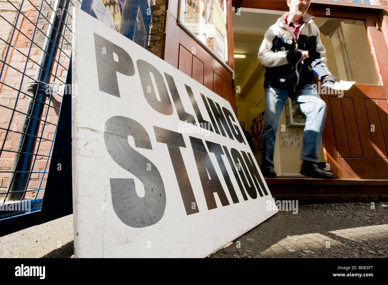 Polling station in the London borough of Lambeth for local elections. - Stock Image