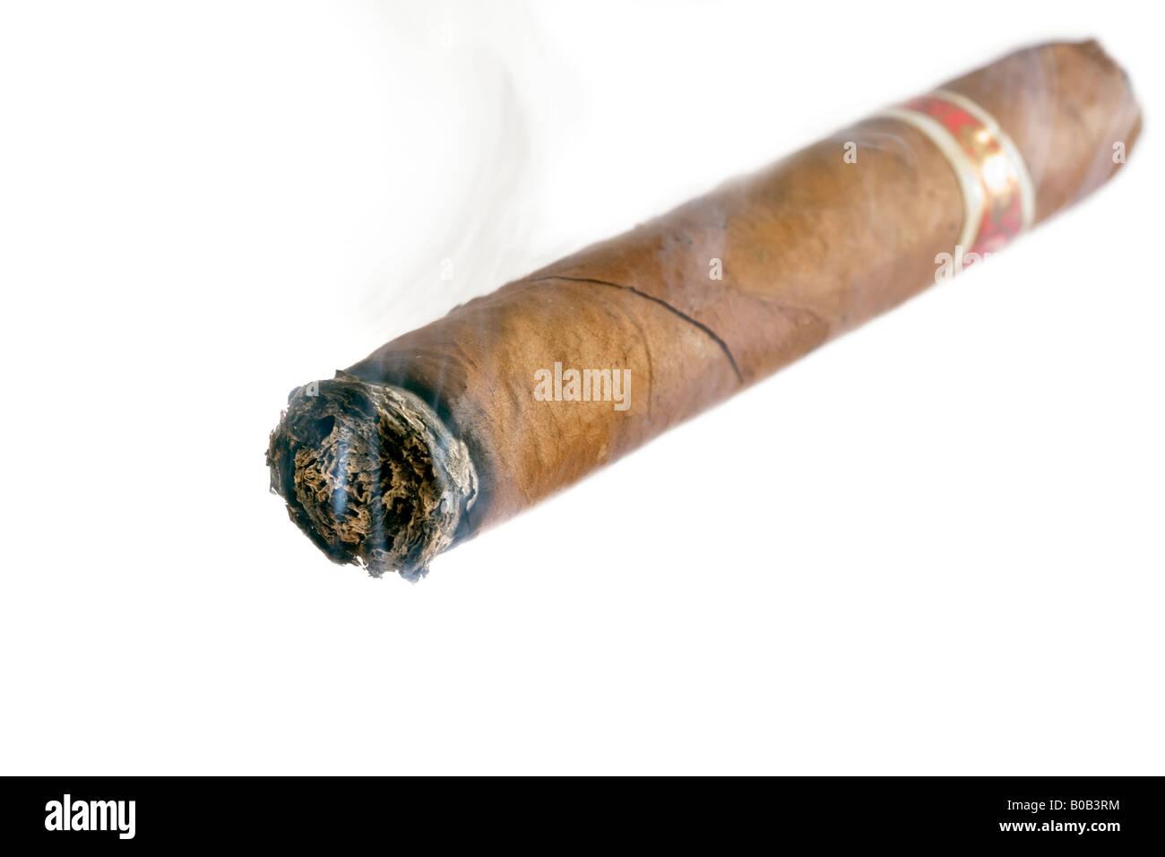 Smoking Havana Cigar - Stock Image
