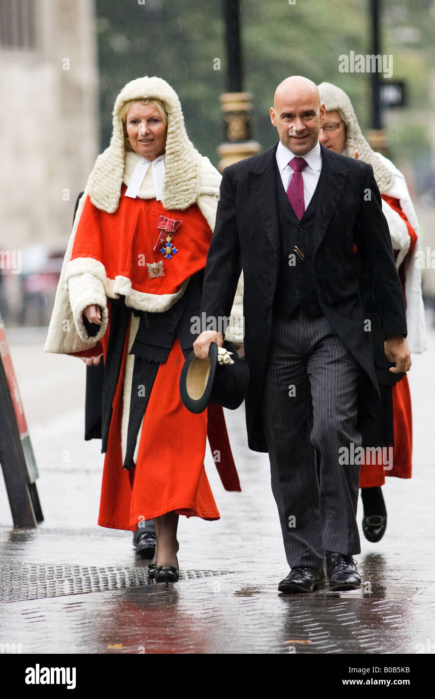 Judges Procession on rainy day from Westminster Abbey London England United Kingdom - Stock Image