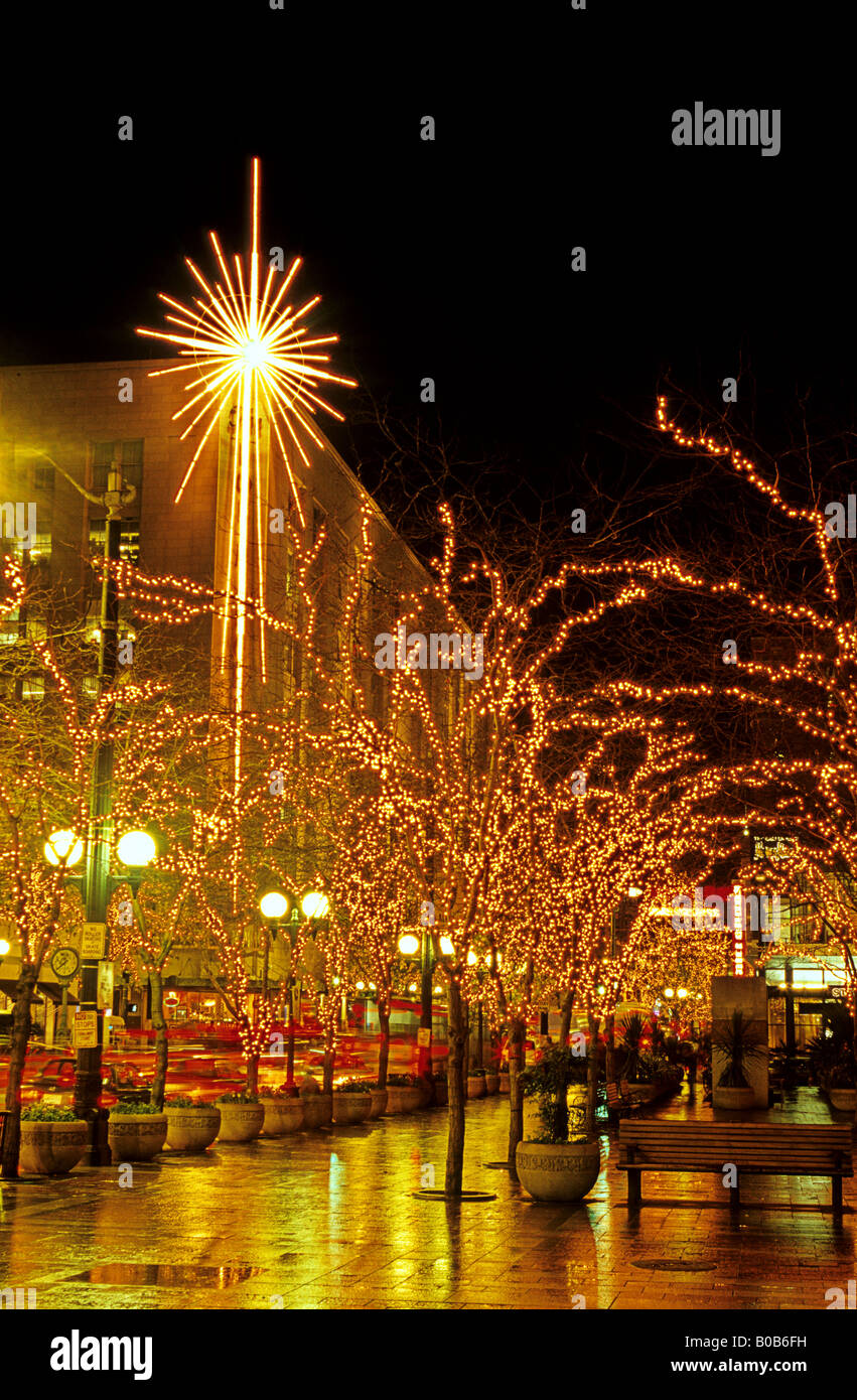 downtown seattle during the christmas holiday celebrations with festive lights and decorations downtown seattle