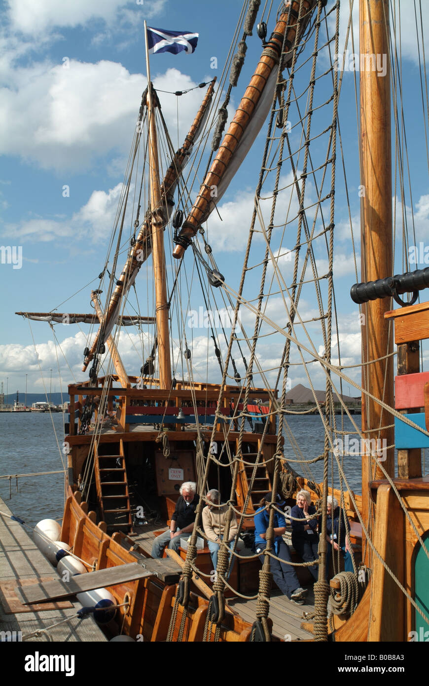 The deck of the caravel the 'Matthew of Bristol' as seen from Leith Docks, Edinburgh. - Stock Image