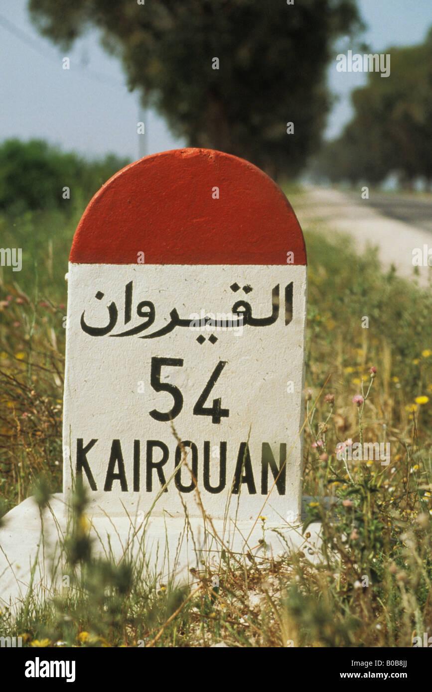 Milestone in Tunisia - Stock Image
