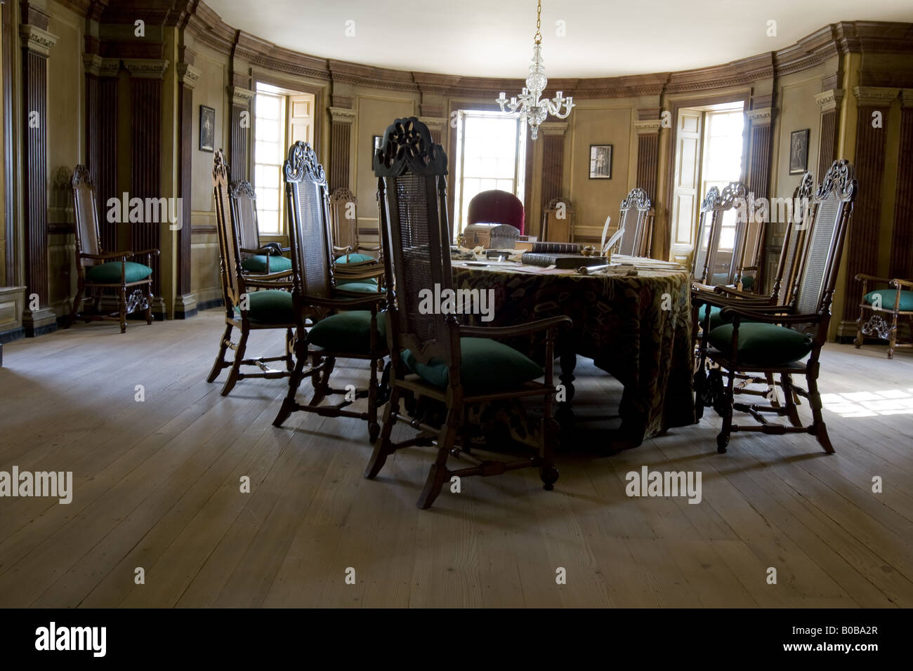 Council Chamber Capitol, Colonial Williamsburg, Virginia - Stock Image