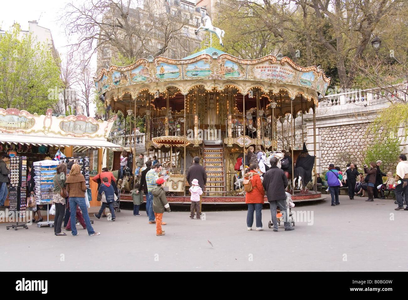 Funfair at Sacre Coer church at Montmartre in Paris France - Stock Image