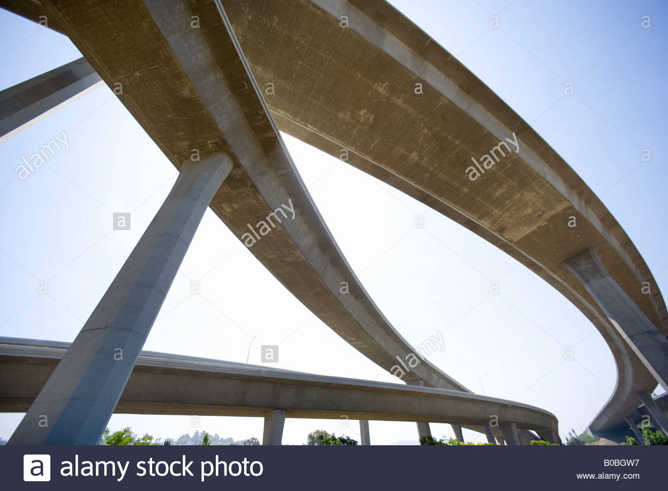 Freeway overpasses, low angle view - Stock Image