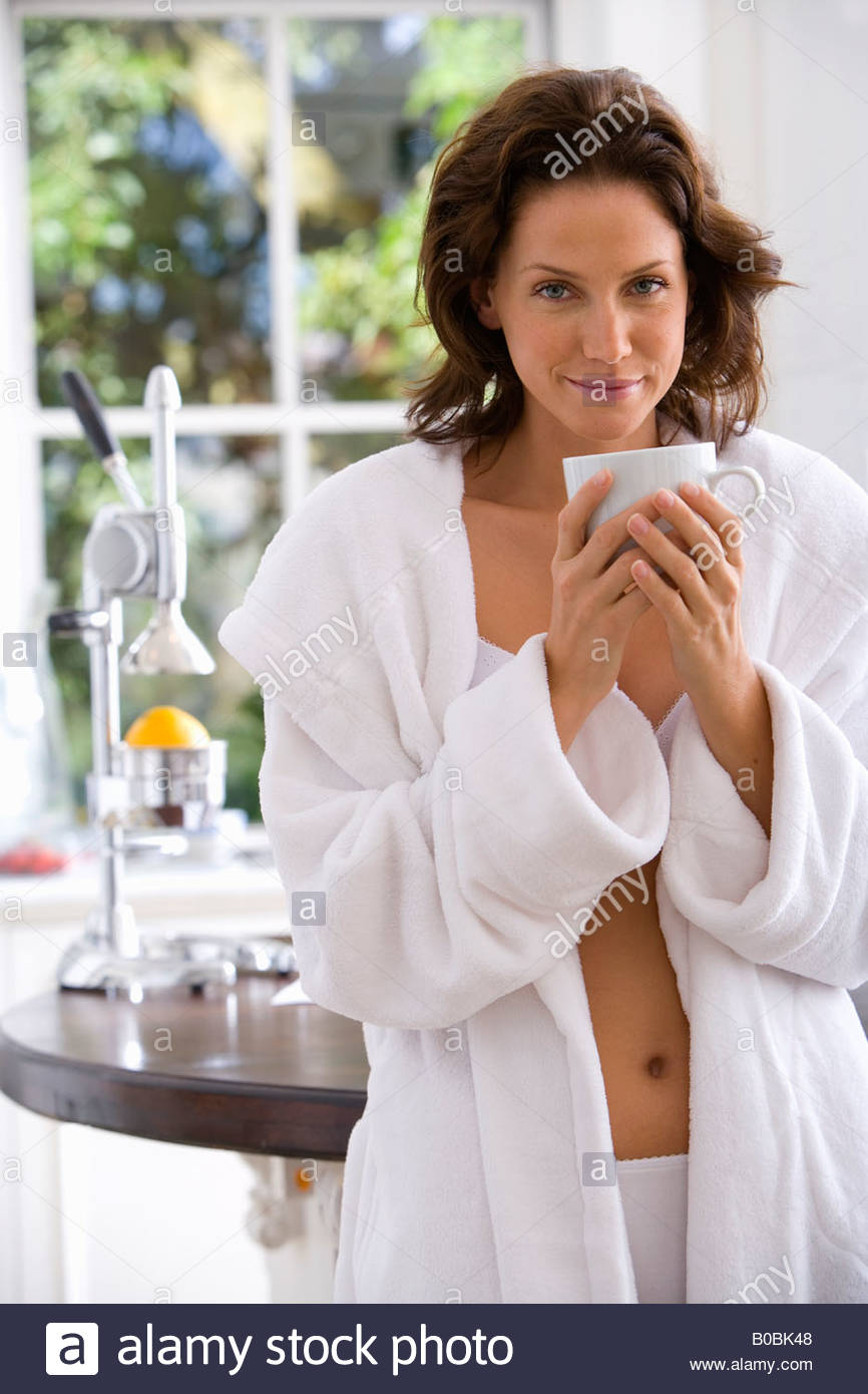 Woman Dressing Gown Kitchen Stock Photos & Woman Dressing Gown ...