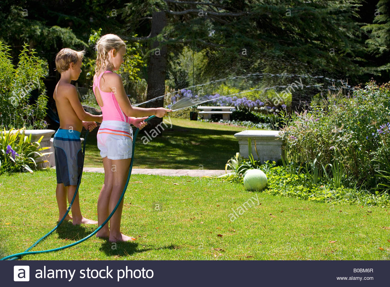 Brother and sister 8-12 watering garden with hoses, side view - Stock Image