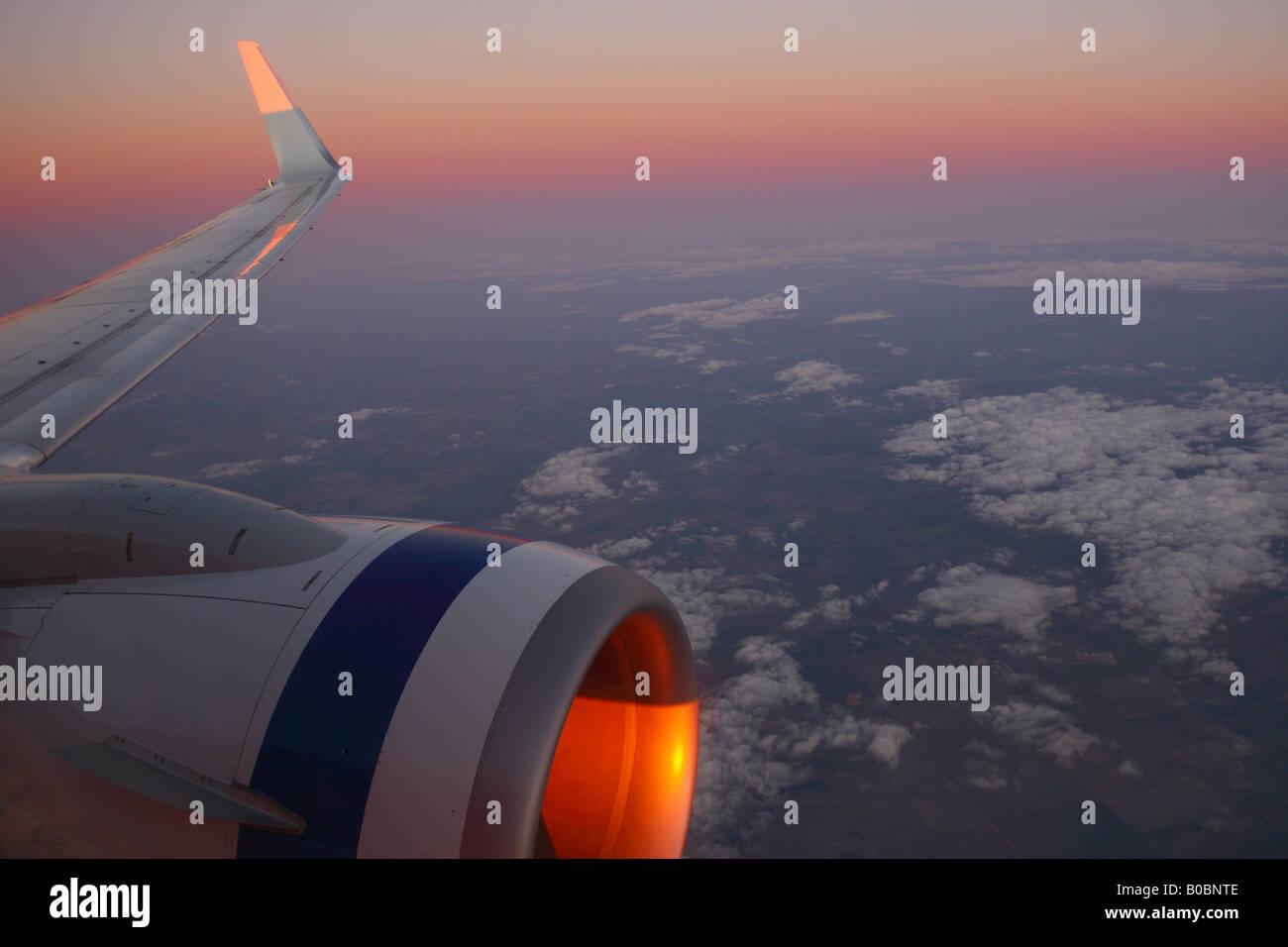 Airbus sunset flight - Stock Image