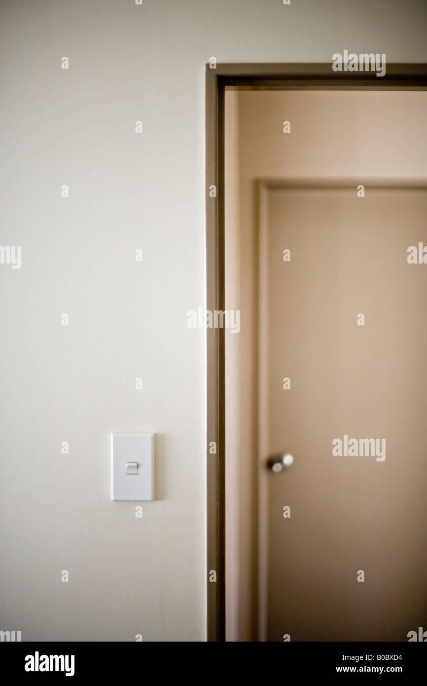 Doors in a motel room Wellington New Zealand - Stock Image