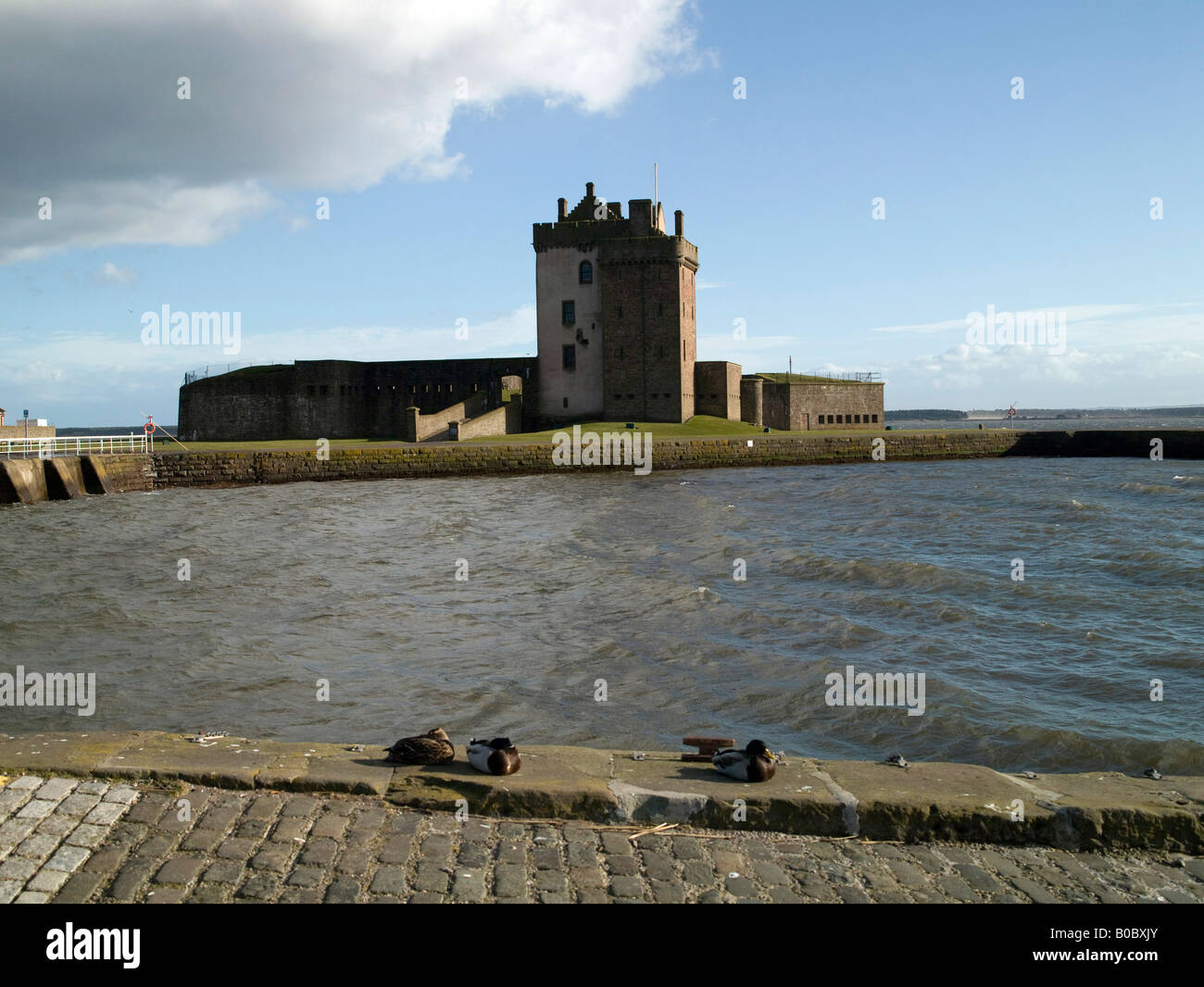 The Castle at Broughty Ferry Harbour, Dundee, Tayside, Scotland - Stock Image